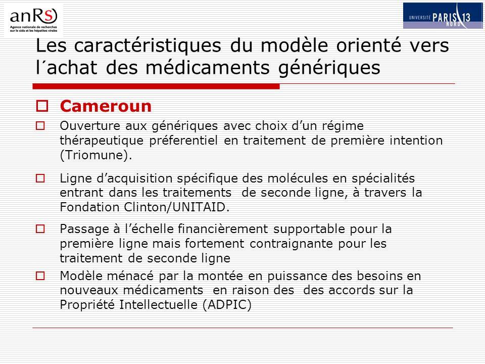 Les caractéristiques du modèle orienté vers l´achat des médicaments génériques Cameroun Ouverture aux génériques avec choix dun régime thérapeutique préferentiel en traitement de première intention (Triomune).