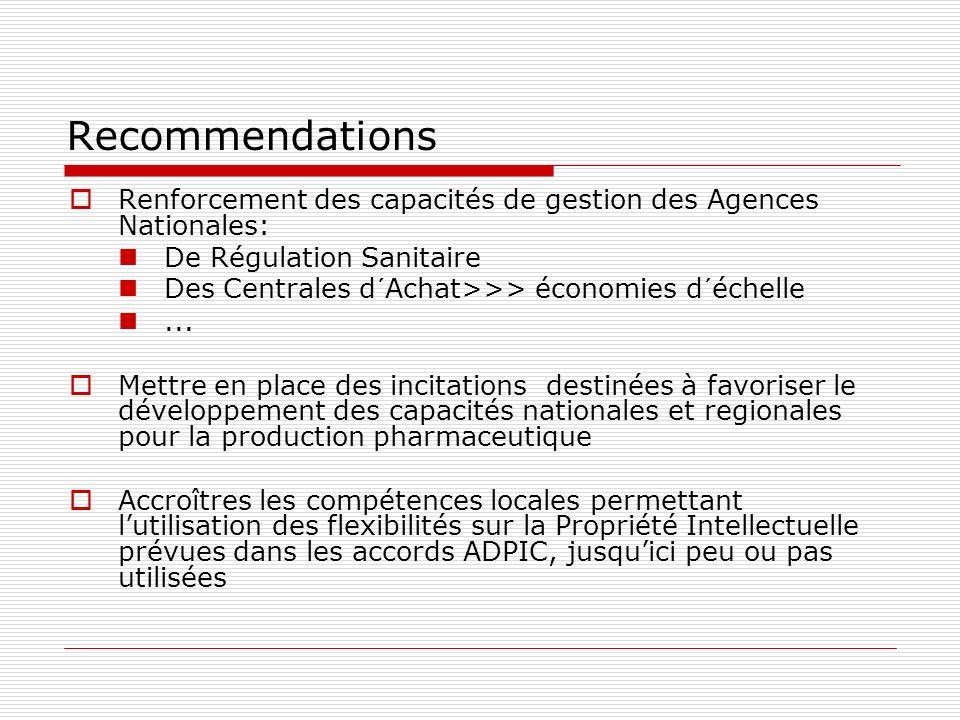 Recommendations Renforcement des capacités de gestion des Agences Nationales: De Régulation Sanitaire Des Centrales d´Achat>>> économies d´échelle...