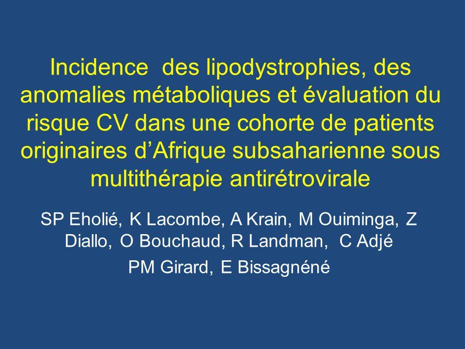Incidence du syndrome métabolique Total (5.9/100PA) Abidjan (4.6/100 PA) p= 0.04 Paris (9.6/100 PA)