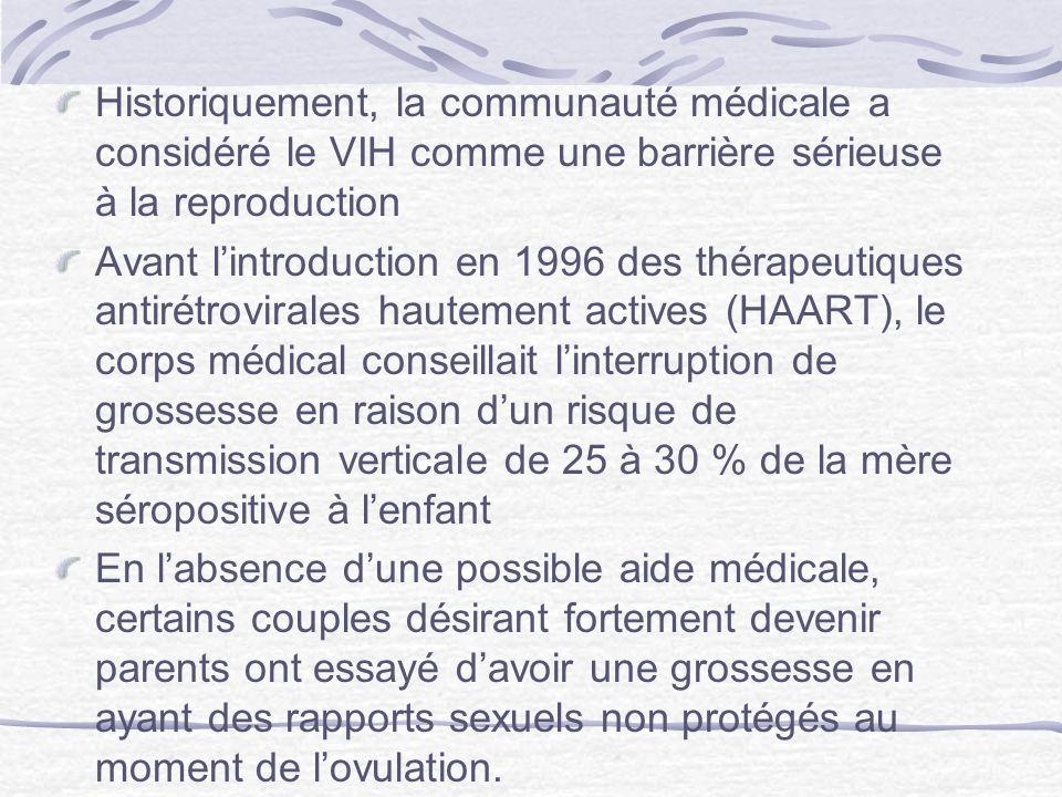 Historiquement, la communauté médicale a considéré le VIH comme une barrière sérieuse à la reproduction Avant lintroduction en 1996 des thérapeutiques