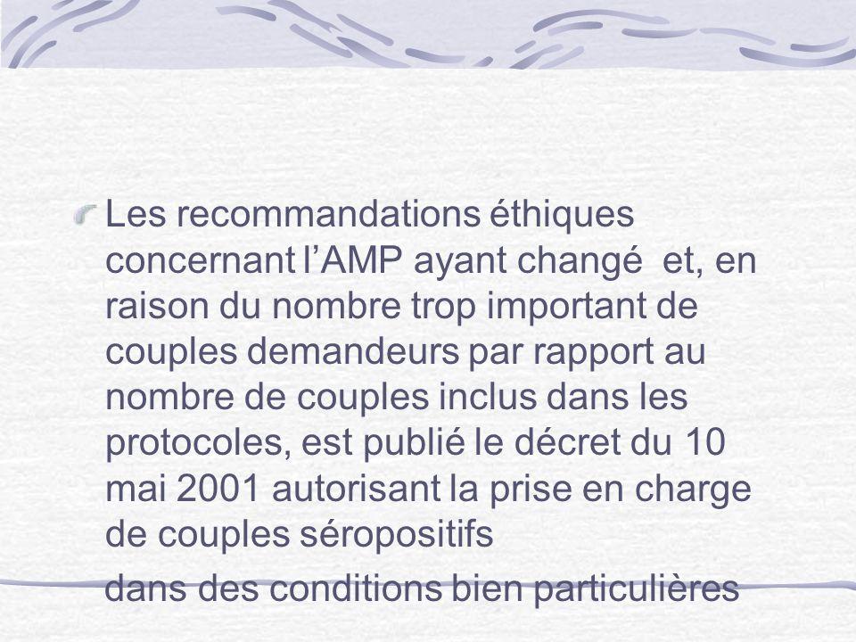 Les recommandations éthiques concernant lAMP ayant changé et, en raison du nombre trop important de couples demandeurs par rapport au nombre de couple