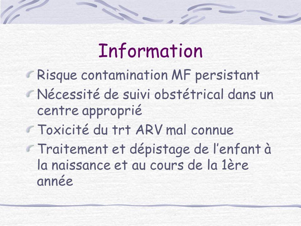Information Risque contamination MF persistant Nécessité de suivi obstétrical dans un centre approprié Toxicité du trt ARV mal connue Traitement et dé