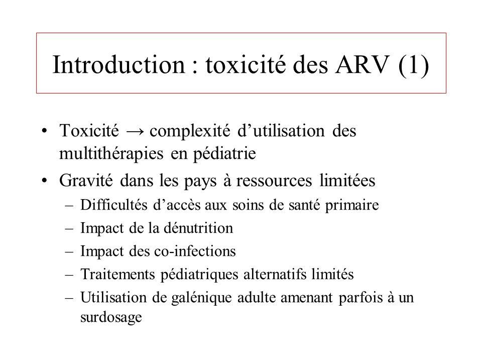 Introduction : toxicité des ARV (1) Toxicité complexité dutilisation des multithérapies en pédiatrie Gravité dans les pays à ressources limitées –Diff