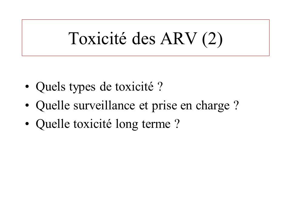 Toxicité des ARV (2) Quels types de toxicité ? Quelle surveillance et prise en charge ? Quelle toxicité long terme ?