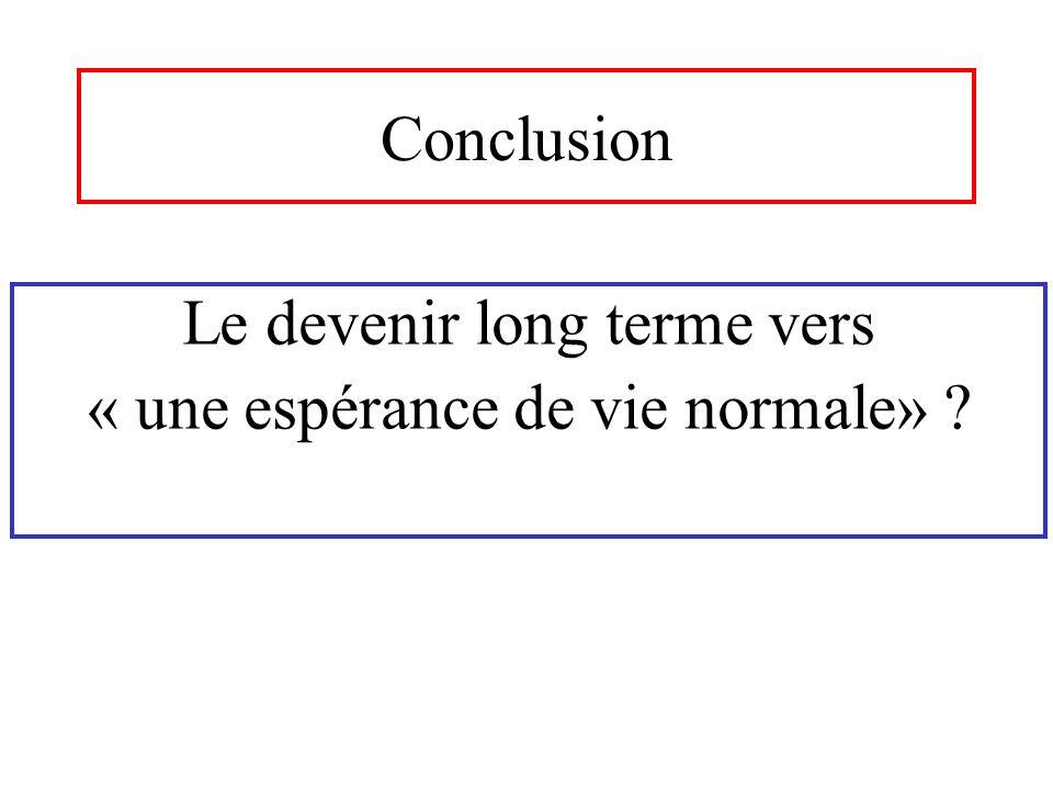 Conclusion Le devenir long terme vers « une espérance de vie normale» ?