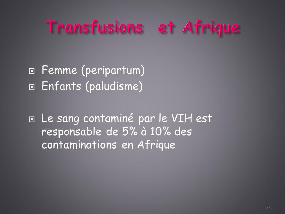 Femme (peripartum) Enfants (paludisme) Le sang contaminé par le VIH est responsable de 5% à 10% des contaminations en Afrique 18