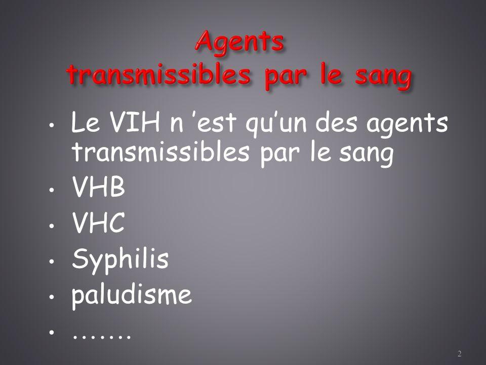 Le VIH n est quun des agents transmissibles par le sang VHB VHC Syphilis paludisme ……. 2