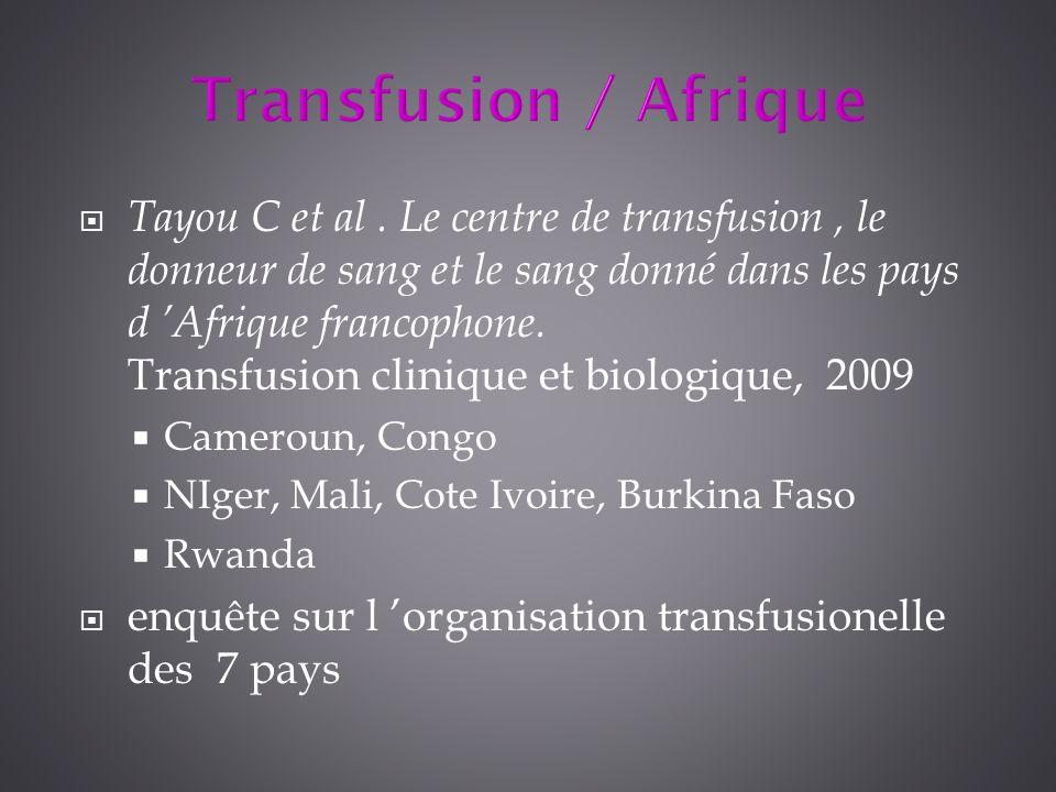 Tayou C et al. Le centre de transfusion, le donneur de sang et le sang donné dans les pays d Afrique francophone. Transfusion clinique et biologique,