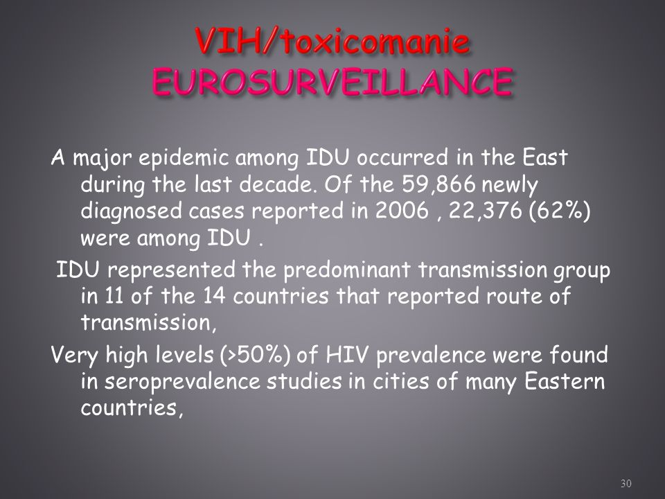 A major epidemic among IDU occurred in the East during the last decade. Of the 59,866 newly diagnosed cases reported in 2006, 22,376 (62%) were among