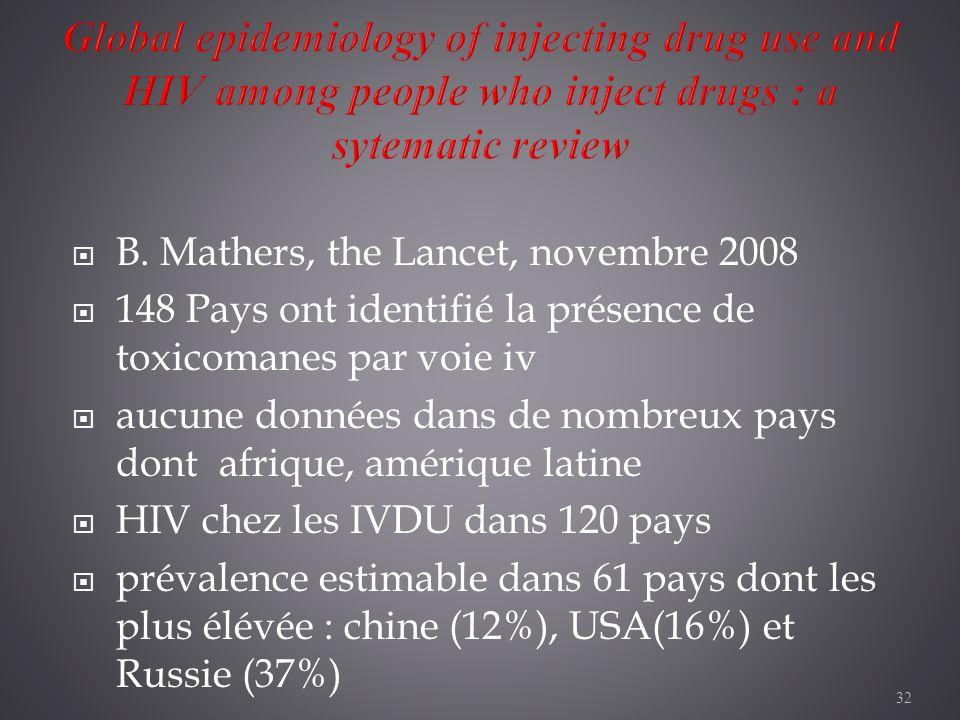 32 B. Mathers, the Lancet, novembre 2008 148 Pays ont identifié la présence de toxicomanes par voie iv aucune données dans de nombreux pays dont afriq