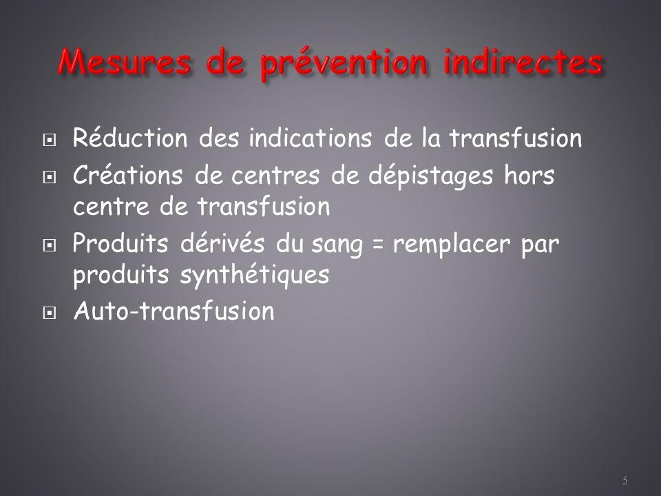 Réduction des indications de la transfusion Créations de centres de dépistages hors centre de transfusion Produits dérivés du sang = remplacer par pro
