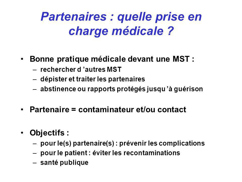 Bonne pratique médicale devant une MST : –rechercher d autres MST –dépister et traiter les partenaires –abstinence ou rapports protégés jusqu à guéris