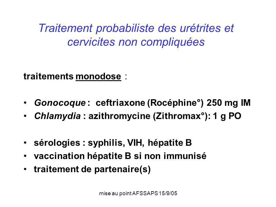 mise au point AFSSAPS 15/9/05 Traitement probabiliste des urétrites et cervicites non compliquées traitements monodose : Gonocoque : ceftriaxone (Rocé