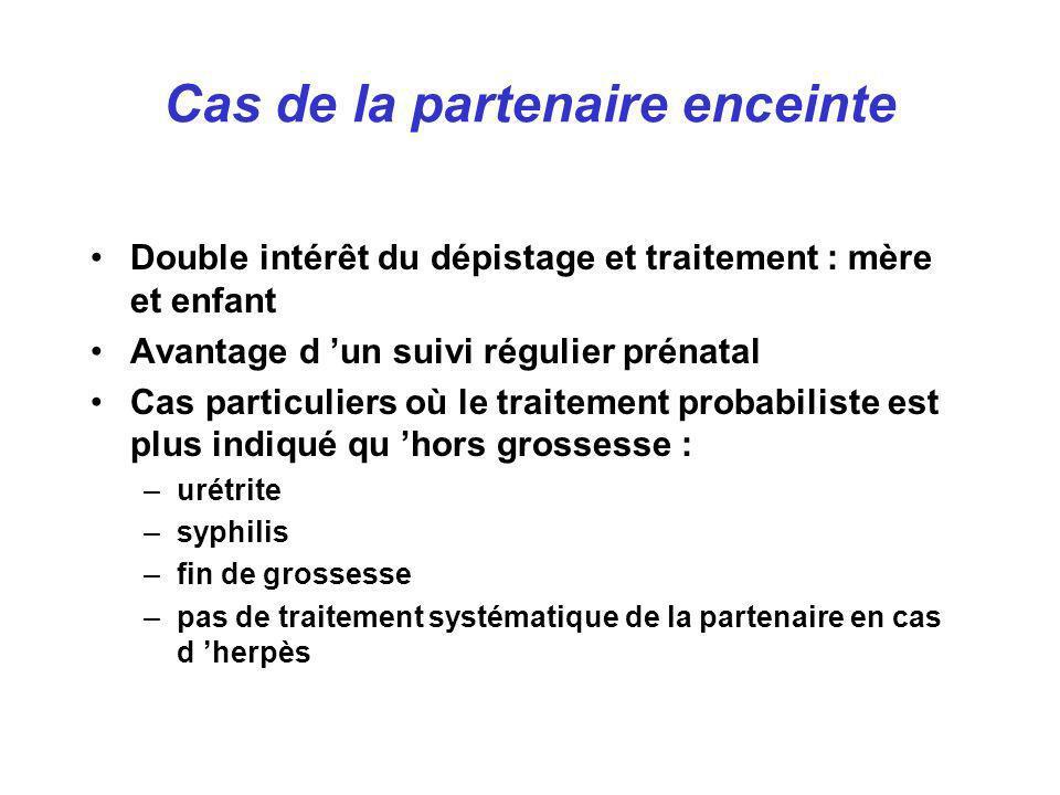 Double intérêt du dépistage et traitement : mère et enfant Avantage d un suivi régulier prénatal Cas particuliers où le traitement probabiliste est pl