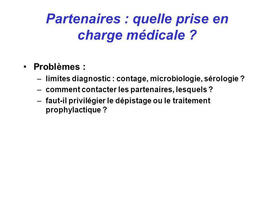Problèmes : –limites diagnostic : contage, microbiologie, sérologie ? –comment contacter les partenaires, lesquels ? –faut-il privilégier le dépistage