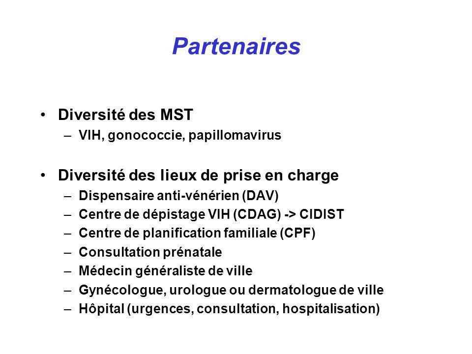 Diversité des MST –VIH, gonococcie, papillomavirus Diversité des lieux de prise en charge –Dispensaire anti-vénérien (DAV) –Centre de dépistage VIH (C