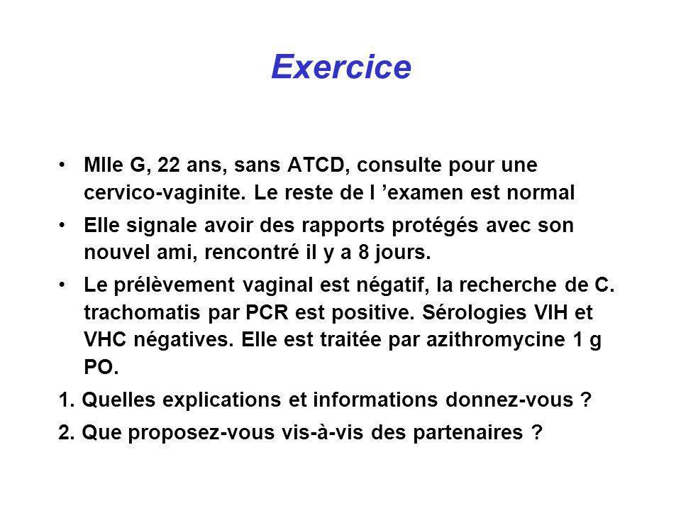 Exercice Mlle G, 22 ans, sans ATCD, consulte pour une cervico-vaginite. Le reste de l examen est normal Elle signale avoir des rapports protégés avec