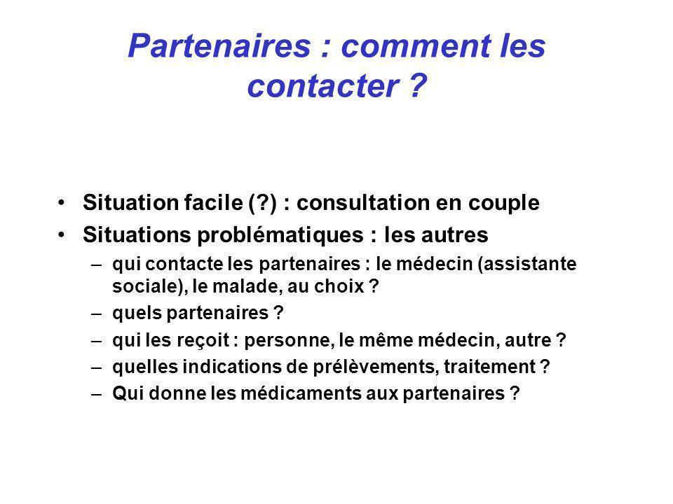 Situation facile (?) : consultation en couple Situations problématiques : les autres –qui contacte les partenaires : le médecin (assistante sociale),