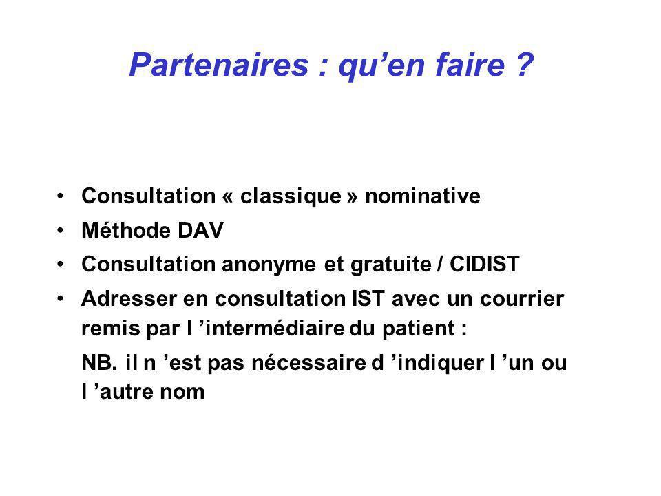 Partenaires : quen faire ? Consultation « classique » nominative Méthode DAV Consultation anonyme et gratuite / CIDIST Adresser en consultation IST av