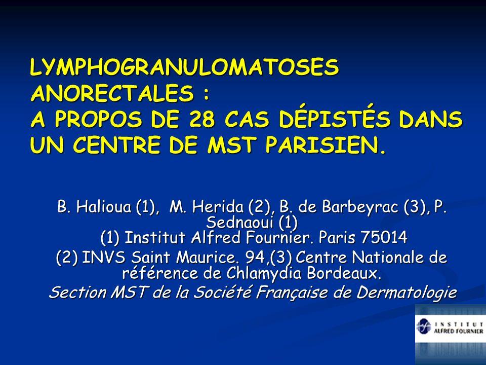 B. Halioua (1), M. Herida (2), B. de Barbeyrac (3), P. Sednaoui (1) (1) Institut Alfred Fournier. Paris 75014 (2) INVS Saint Maurice. 94,(3) Centre Na