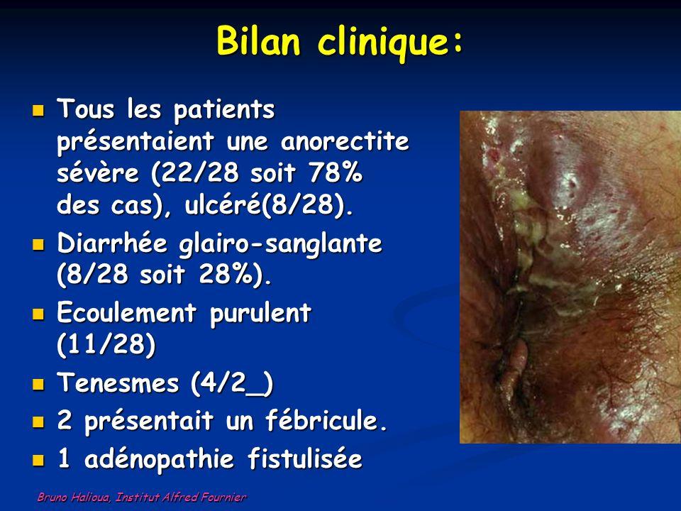 Bilan clinique: Tous les patients présentaient une anorectite sévère (22/28 soit 78% des cas), ulcéré(8/28). Tous les patients présentaient une anorec