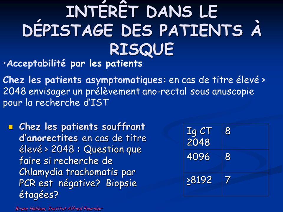 INTÉRÊT DANS LE DÉPISTAGE DES PATIENTS À RISQUE Chez les patients souffrant danorectites en cas de titre élevé > 2048 : Question que faire si recherch