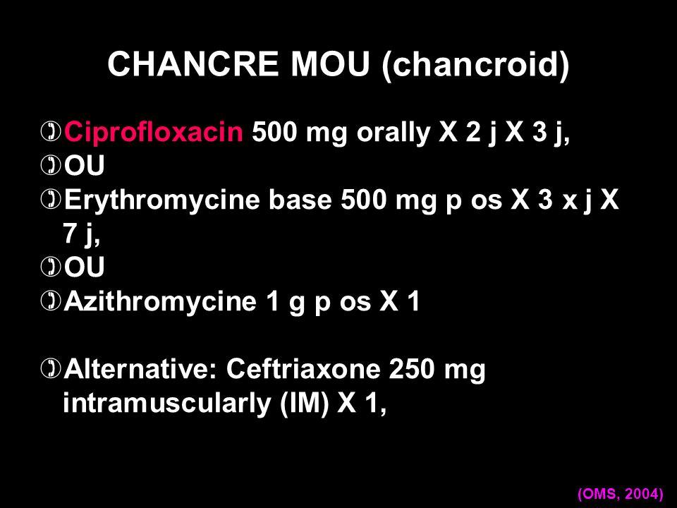 Ciprofloxacin 500 mg orally X 2 j X 3 j, OU Erythromycine base 500 mg p os X 3 x j X 7 j, OU Azithromycine 1 g p os X 1 Alternative: Ceftriaxone 250 m