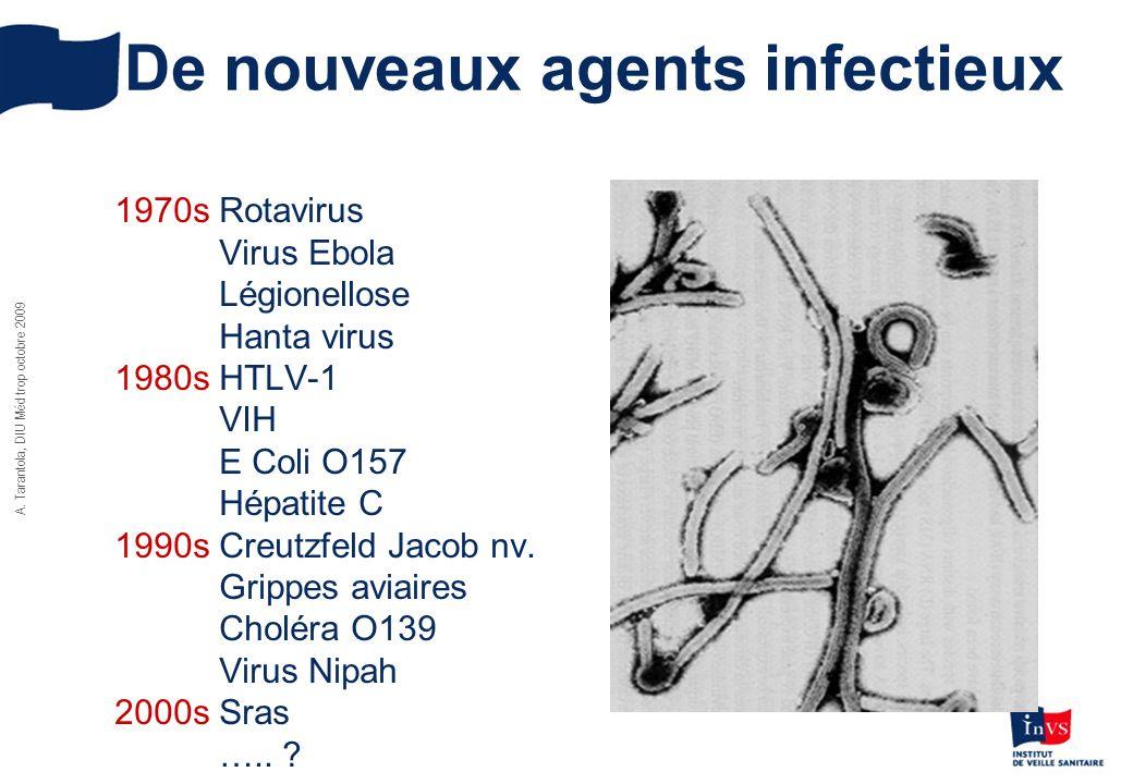 A. Tarantola, DIU Méd trop octobre 2009 De nouveaux agents infectieux 1970s Rotavirus Virus Ebola Légionellose Hanta virus 1980sHTLV-1 VIH E Coli O157