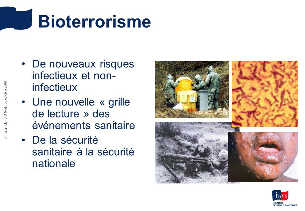 A. Tarantola, DIU Méd trop octobre 2009 Bioterrorisme De nouveaux risques infectieux et non- infectieux Une nouvelle « grille de lecture » des événeme
