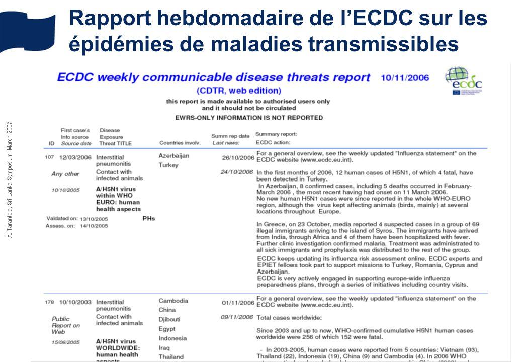 A. Tarantola, Sri Lanka Symposium March 2007 Rapport hebdomadaire de lECDC sur les épidémies de maladies transmissibles