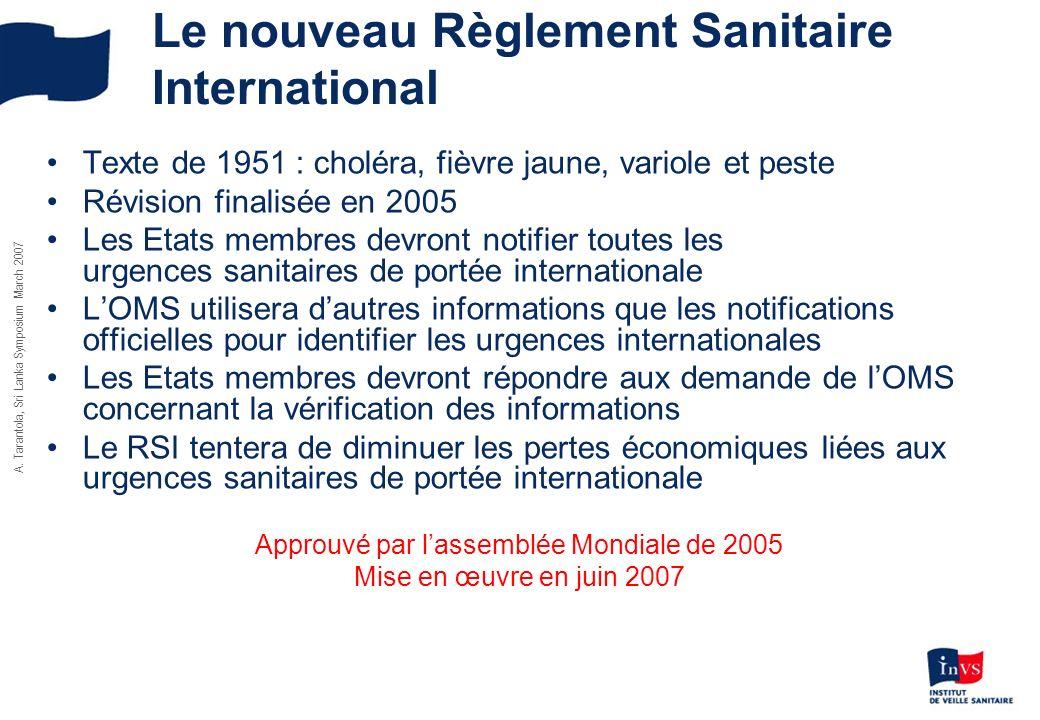 A. Tarantola, Sri Lanka Symposium March 2007 Le nouveau Règlement Sanitaire International Texte de 1951 : choléra, fièvre jaune, variole et peste Révi