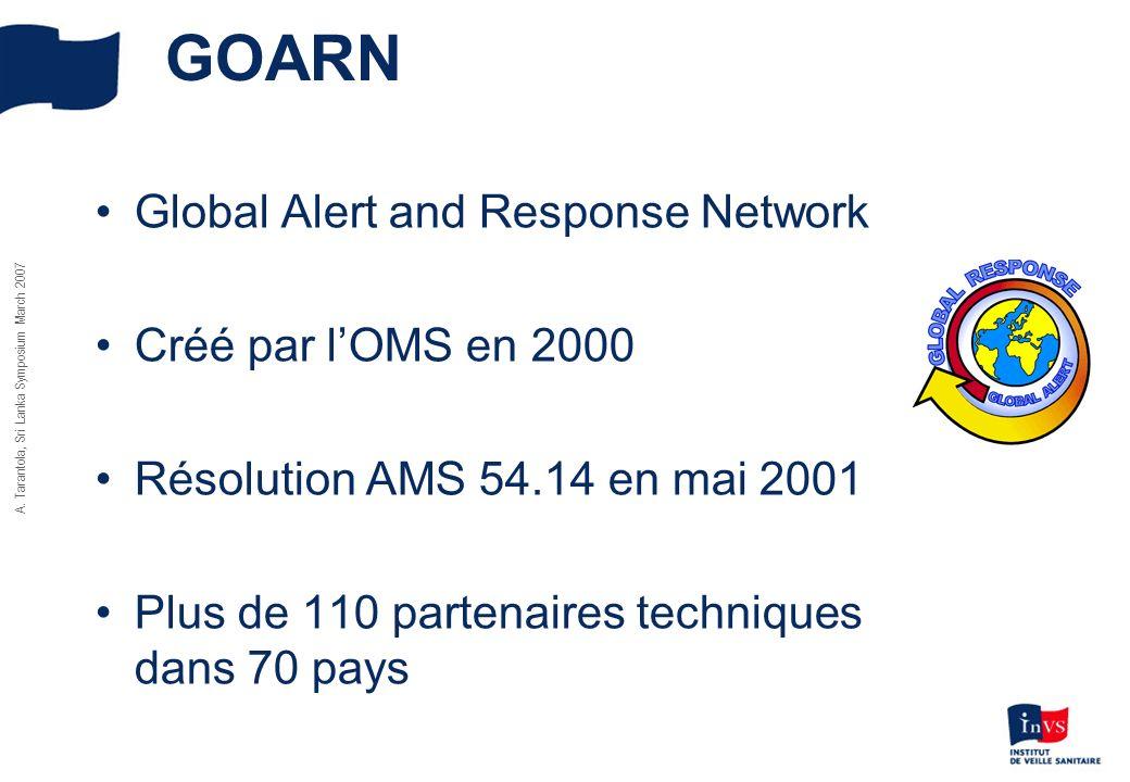 A. Tarantola, Sri Lanka Symposium March 2007 GOARN Global Alert and Response Network Créé par lOMS en 2000 Résolution AMS 54.14 en mai 2001 Plus de 11