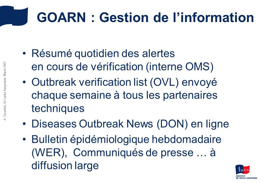 GOARN : Gestion de linformation Résumé quotidien des alertes en cours de vérification (interne OMS) Outbreak verification list (OVL) envoyé chaque sem