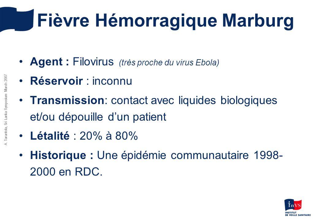 A. Tarantola, Sri Lanka Symposium March 2007 Fièvre Hémorragique Marburg Agent : Filovirus (très proche du virus Ebola) Réservoir : inconnu Transmissi