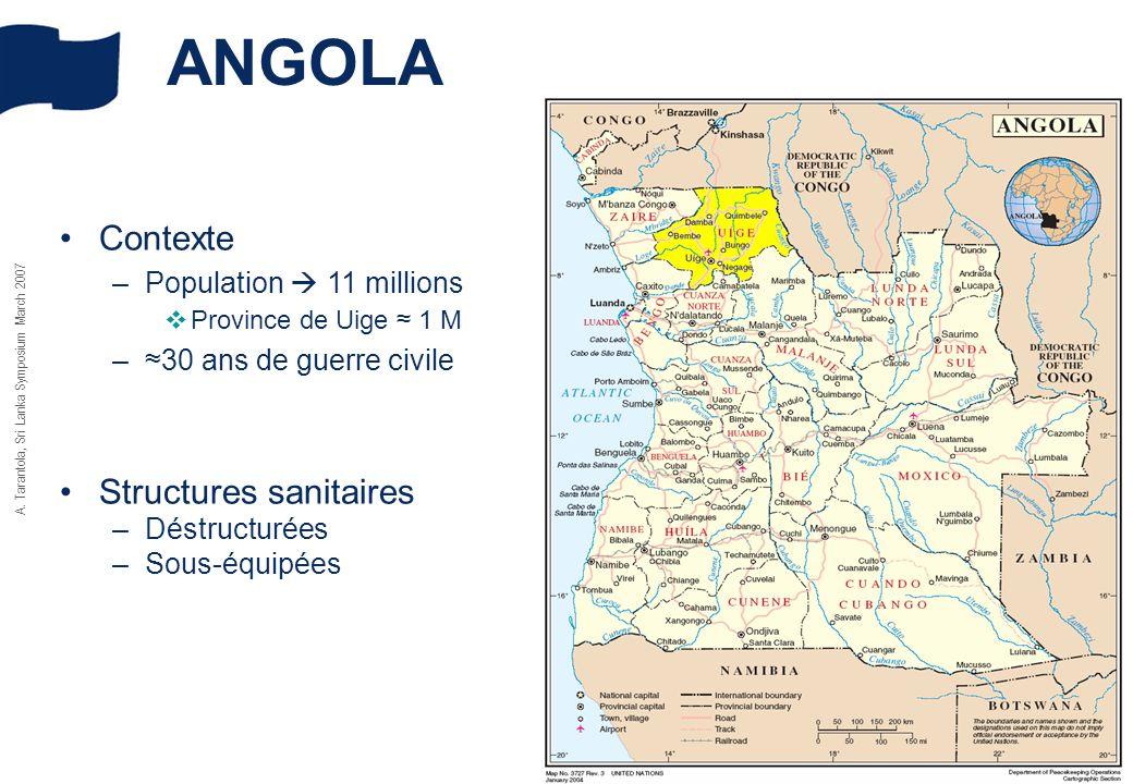 A. Tarantola, Sri Lanka Symposium March 2007 Contexte –Population 11 millions Province de Uige 1 M –30 ans de guerre civile Structures sanitaires –Dés