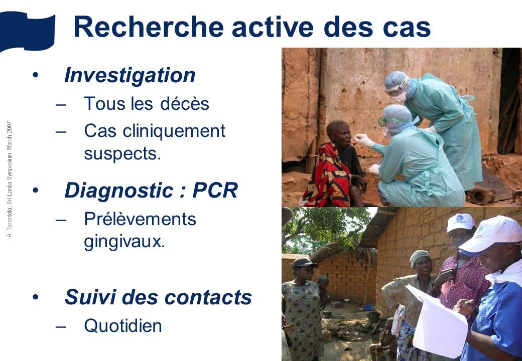 A. Tarantola, Sri Lanka Symposium March 2007 Recherche active des cas Investigation –Tous les décès –Cas cliniquement suspects. Diagnostic : PCR –Prél