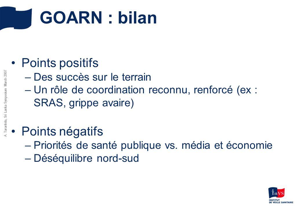 GOARN : bilan Points positifs –Des succès sur le terrain –Un rôle de coordination reconnu, renforcé (ex : SRAS, grippe avaire) Points négatifs –Priori