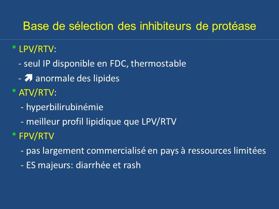 Base de sélection des inhibiteurs de protéase * LPV/RTV: - seul IP disponible en FDC, thermostable - anormale des lipides * ATV/RTV: - hyperbilirubiné