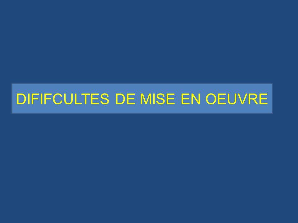 DIFIFCULTES DE MISE EN OEUVRE