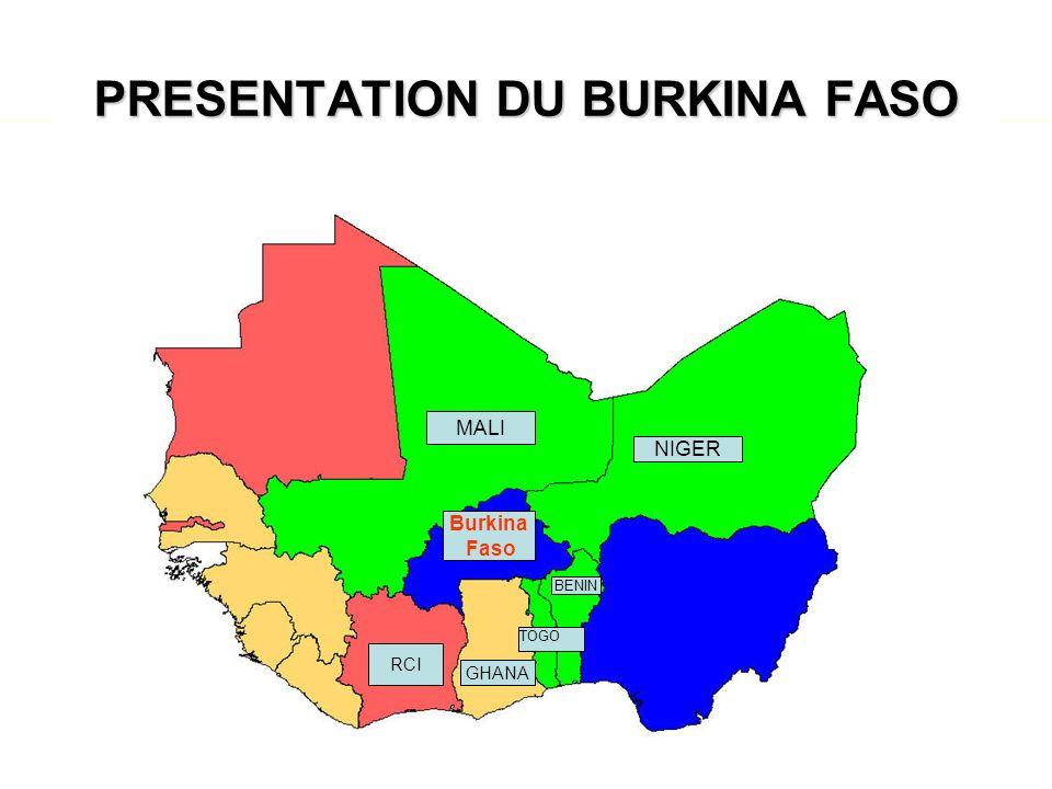 Données géographiques –Superficie: 274 200 Km 2 –Limites –au Nord et à lOuest : Mali –au Nord Est : Niger –Au Sud Est: Bénin –Au Sud: Togo, Ghana et Côte dIvoire –Climat –Longue saison sèche et courte saison humide