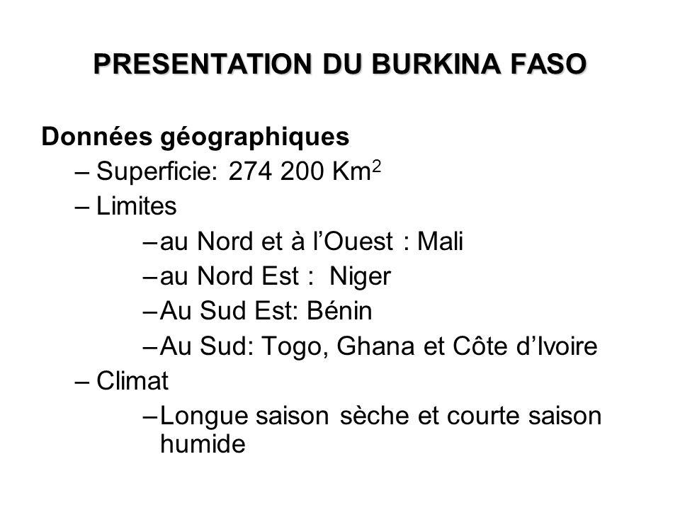 Données géographiques –Superficie: 274 200 Km 2 –Limites –au Nord et à lOuest : Mali –au Nord Est : Niger –Au Sud Est: Bénin –Au Sud: Togo, Ghana et C