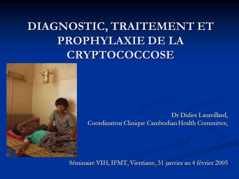 INTRODUCTION Objectifs de la présentation : Objectifs de la présentation : Importance de la cryptococcose chez le patients infectés par le VIH : Importance de la cryptococcose chez le patients infectés par le VIH : Fréquence Fréquence Pronostic dramatique Pronostic dramatique La Cryptococcose neuro-méningée : La Cryptococcose neuro-méningée : Présentation clinique Présentation clinique Diagnostic positif Diagnostic positif Prise en charge Prise en charge Prophylaxie Primaire Prophylaxie Primaire