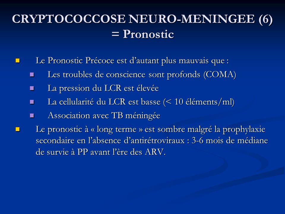 CRYPTOCOCCOSE NEURO-MENINGEE (6) = Pronostic Le Pronostic Précoce est dautant plus mauvais que : Le Pronostic Précoce est dautant plus mauvais que : L
