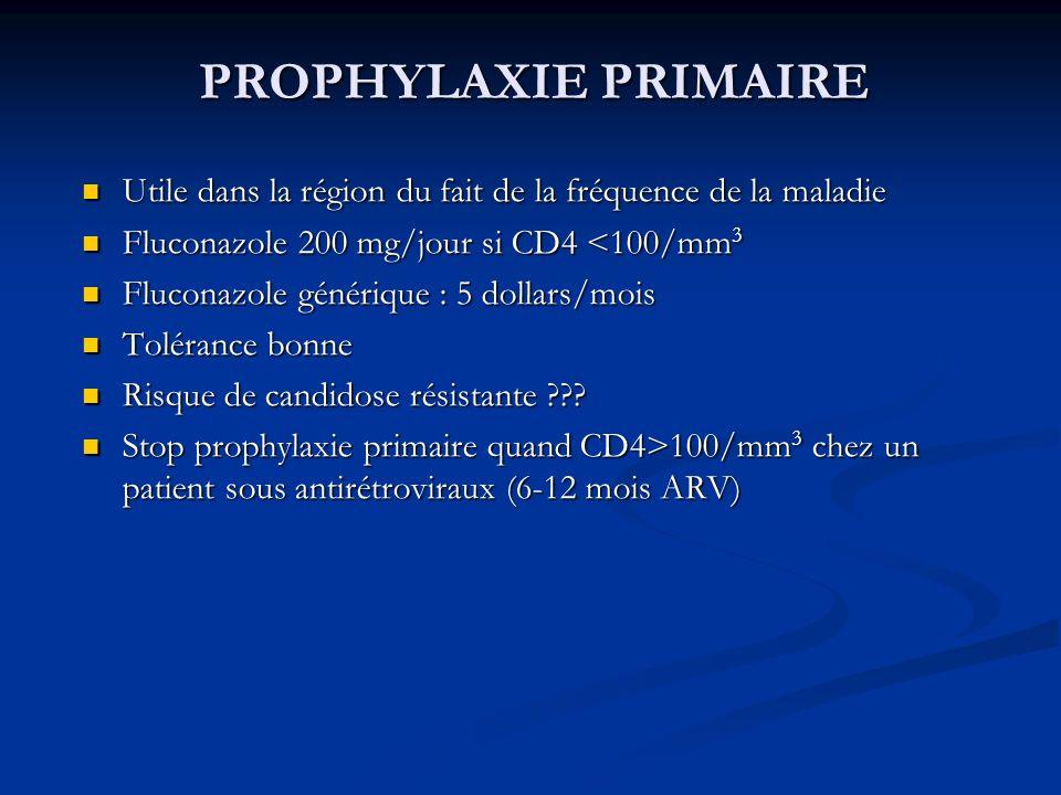 PROPHYLAXIE PRIMAIRE Utile dans la région du fait de la fréquence de la maladie Utile dans la région du fait de la fréquence de la maladie Fluconazole