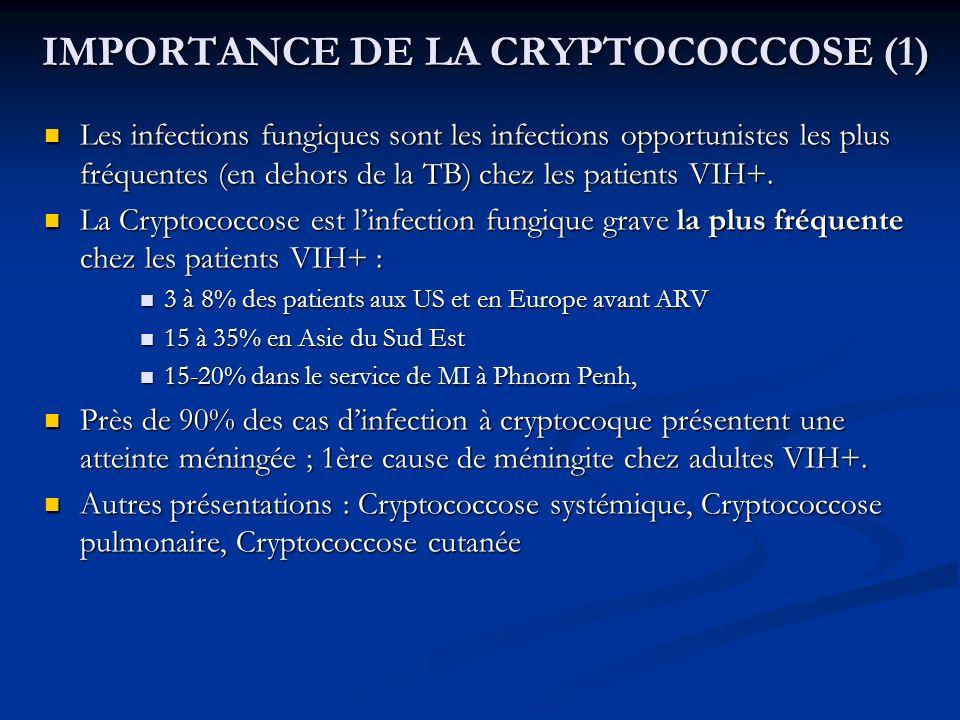 IMPORTANCE DE LA CRYPTOCOCCOSE (1) IMPORTANCE DE LA CRYPTOCOCCOSE (1) Les infections fungiques sont les infections opportunistes les plus fréquentes (
