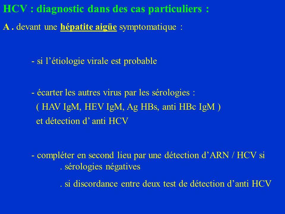 HCV : diagnostic dans des cas particuliers : A.