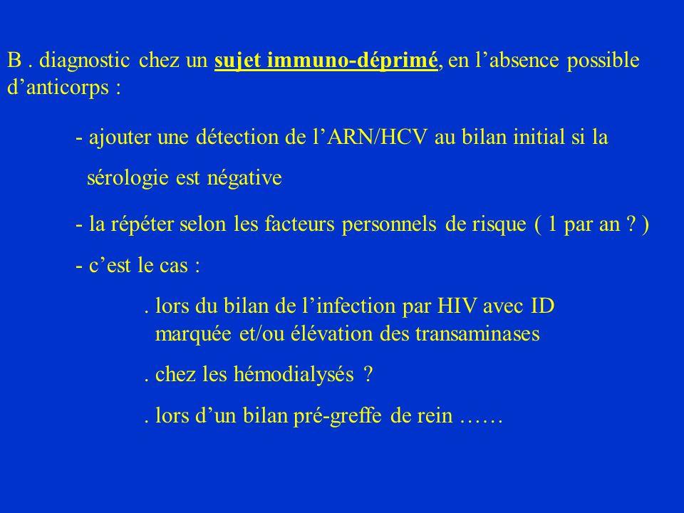 B. diagnostic chez un sujet immuno-déprimé, en labsence possible danticorps : - ajouter une détection de lARN/HCV au bilan initial si la sérologie est