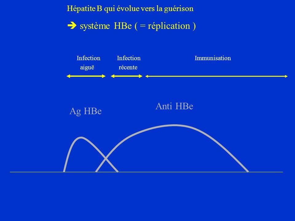 Hépatite B qui évolue vers la guérison système HBe ( = réplication ) Ag HBe Anti HBe Infection Infection Immunisation aiguë récente