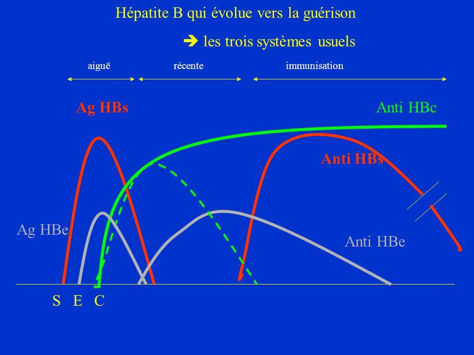 Hépatite B qui évolue vers la guérison les trois systèmes usuels Ag HBs Anti HBs Anti HBc aiguë récente immunisation Anti HBe Ag HBe S E C