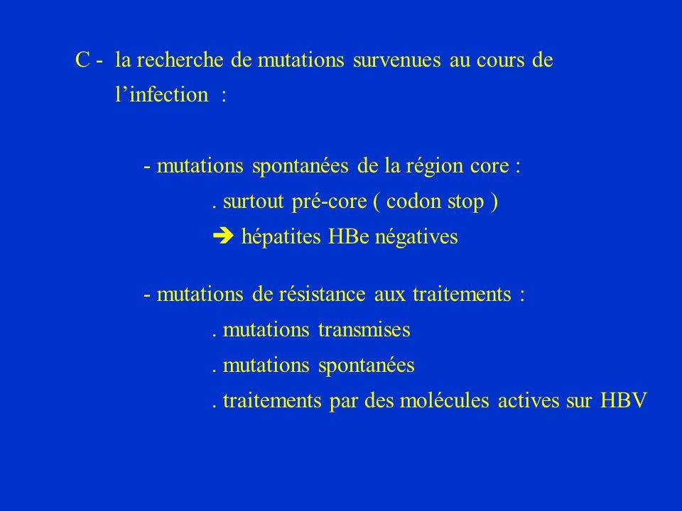 C - la recherche de mutations survenues au cours de linfection : - mutations spontanées de la région core :.